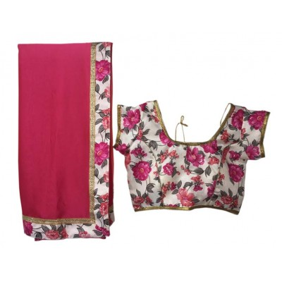 MyOnlineShoppy Pink Rangoli Peding Printed Saree