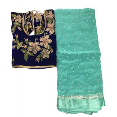 MyOnlineShoppy Sea Blue Georgette Pearl Worked Saree
