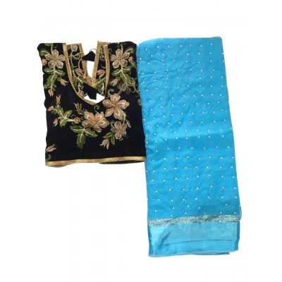 MyOnlineShoppy Sky Blue Georgette Pearl Worked Saree