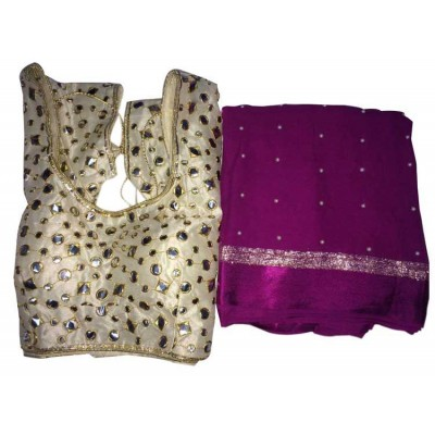MyOnlineShoppy Violet Georgette Pearl Worked Saree