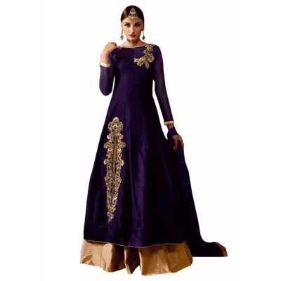 MyOnlineShoppy Violet Taffeta Silk Embroidered Semi-Stitched Lehenga Choli