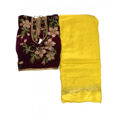 MyOnlineShoppy Yellow Georgette Pearl Worked Saree