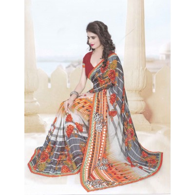 Bimba Fashions Multi Colour Georgette Printed Saree