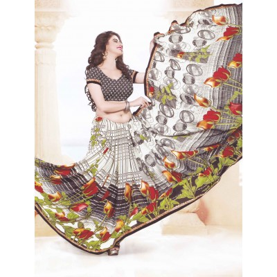 Bimba Fashions White Georgette Printed Fancy Saree