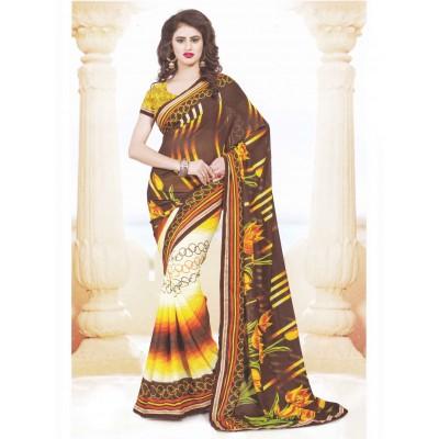 Bimba Fashions Brown Georgette Printed Saree