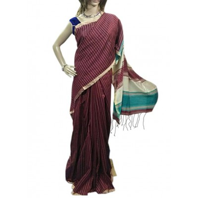 Bee Maroon Cotton Silk Saree