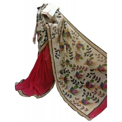 Bee Red Kerala Cotton Hand Painted Saree