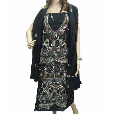 Bee Black Cotton Embroidered Un-Stitched Dress Material
