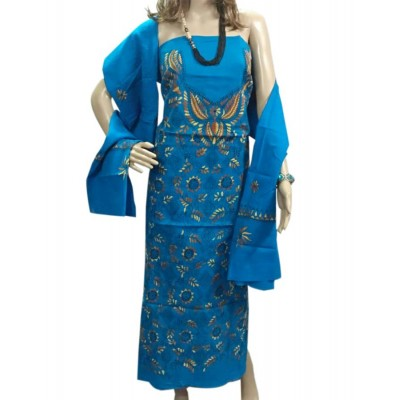 Bee Blue Cotton Embroidered Un-Stitched Dress Material