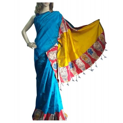 Bee Blue Cotton Silk Kalamkari Printed Saree