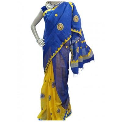 Bee Blue Garad Silk Applique Worked Saree
