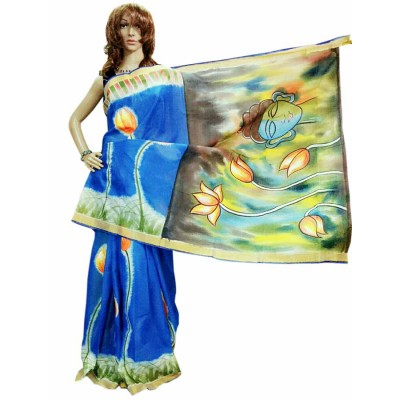 Bee Blue Kerala Cotton Hand Painted Saree