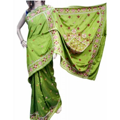 Bee Green Silk Gujarati Hand Stitched Saree