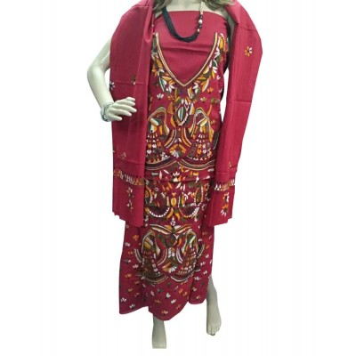 Bee Maroon Cotton Embroidered Un-Stitched Dress Material