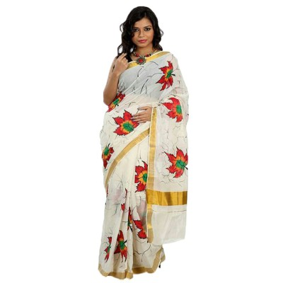 Bee Off White Kerala Cotton Hand Painted Saree