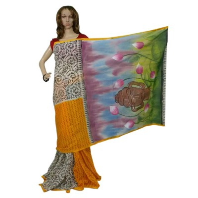 Bee Orange Bengal Tant Cotton Hand Painted Saree