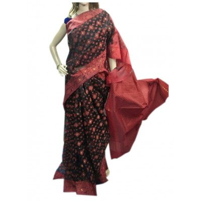 Bee Red Silk Dhakai Jamdani Saree