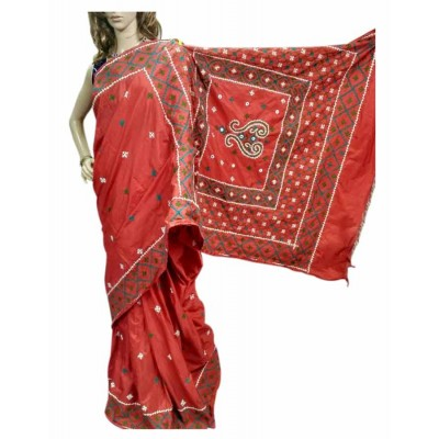 Bee Red Silk Gujarati Hand Stitched Saree