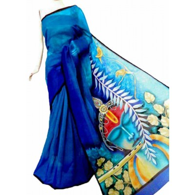 Bee Royal blue Kerala Cotton Hand Painted Saree