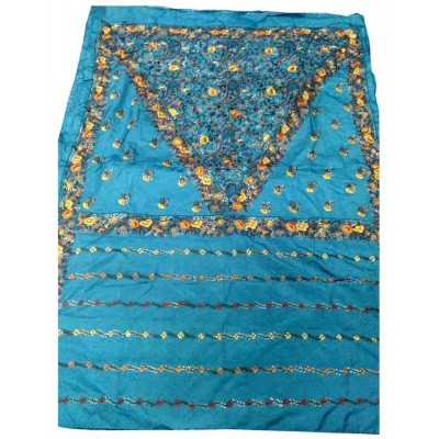 Bee Sky Blue Art Bangalore Silk Hand Parsi Stitched Saree