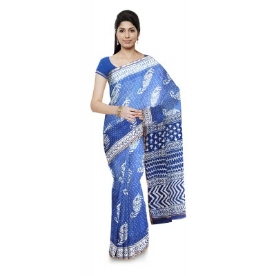 Kala Nidhi Creations Indigo Blue Chanderi Hand Block printed Saree