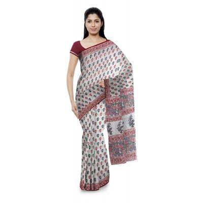 Kala Nidhi Creations Red & Black Cotton Hand Block printed Saree