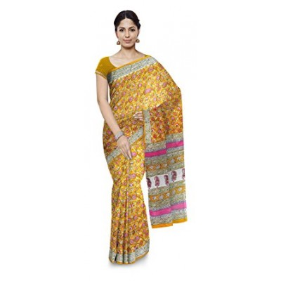 Kala Nidhi Creations Yellow Cotton Hand Block printed Kalamkari Saree