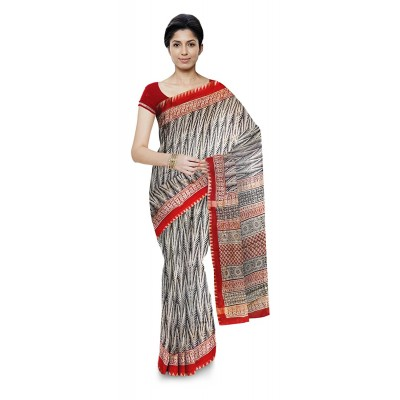 Kala Nidhi Creations Black & Red Chanderi Hand Block printed Saree