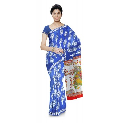 Kala Nidhi Creations Indigo Blue Cotton Hand Block printed Kalamkari Saree
