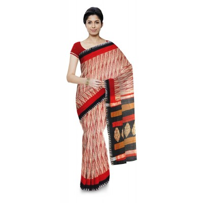 Kala Nidhi Creations Red Chanderi Hand Block printed Saree