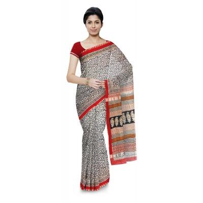 Kala Nidhi Creations Black & Red Chanderi Hand Block printed Saree