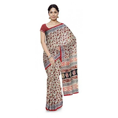 Kala Nidhi Creations Multi Colour Cotton Hand Block printed Kalamkari Saree