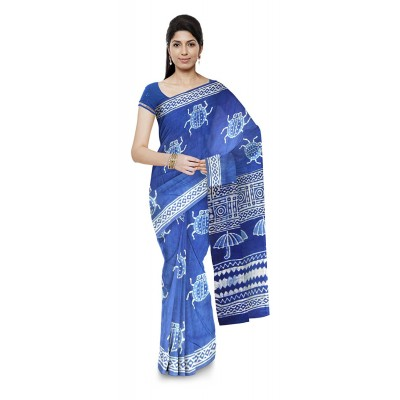 Kala Nidhi Creations Indigo Blue Cotton Hand Block printed Saree