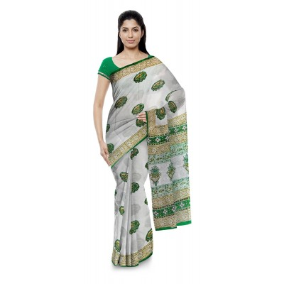 Kala Nidhi Creations Green Cotton Hand Block printed Saree