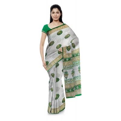 Kala Nidhi Creations Green Cotton Hand Block printed Saree