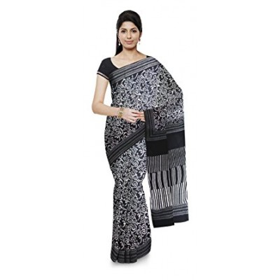 Kala Nidhi Creations Black Cotton Hand Block printed Saree