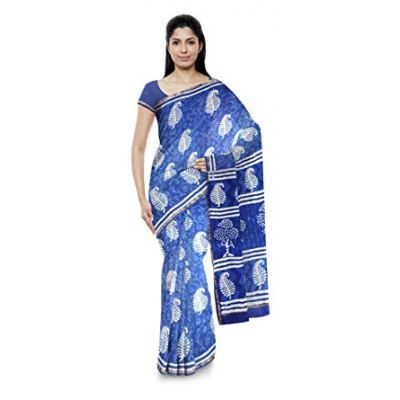 Kala Nidhi Creations Indigo Blue Chanderi Hand Block printed Chanderi Saree