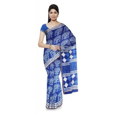 Kala Nidhi Creations Indigo Blue Chanderi Hand Block printed Saree