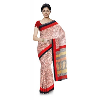 Kala Nidhi Creations Red Chanderi Hand Block printed Saree