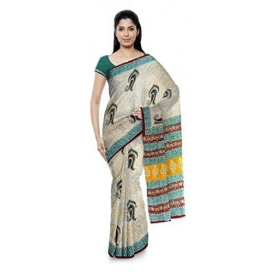 Kala Nidhi Creations Multi Colour Cotton Hand Block printed Saree