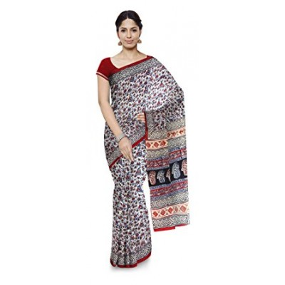 Kala Nidhi Creations Multi Colour Cotton Hand Block printed Kalamakari Saree
