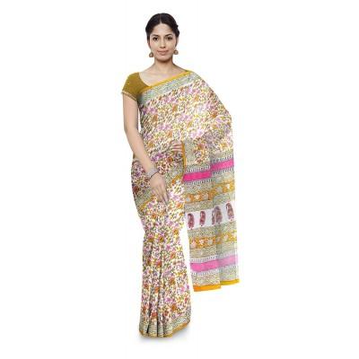 Kala Nidhi Creations Multi Colour Cotton Hand Block printed Kalamkari Saree