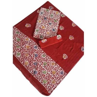 MG PRINTS Red Cotton Hand Printed Batik Un-Stitched Dress Material
