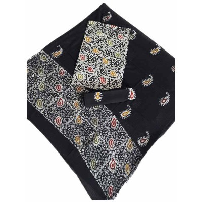 MG PRINTS Black Cotton Hand Printed Batik Un-Stitched Dress Material