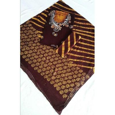 MG PRINTS Brown Cotton Hand Printed Batik Un-Stitched Dress Material