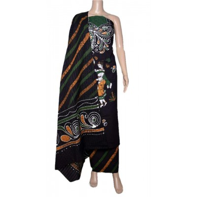 MG PRINTS Navy Blue Cotton Hand Printed Batik Un-Stitched Dress Material