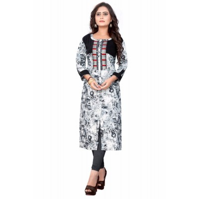 NTC Black & White Cotton Embroidered Slit Kurta