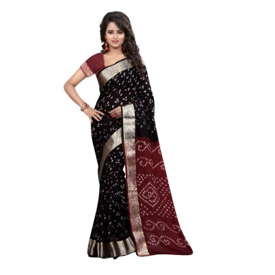 NTC Black Art Silk Cotton Bandhani Saree