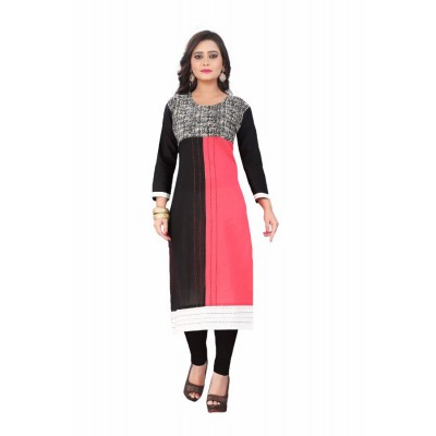 NTC Black Cotton Printed Straight Kurta