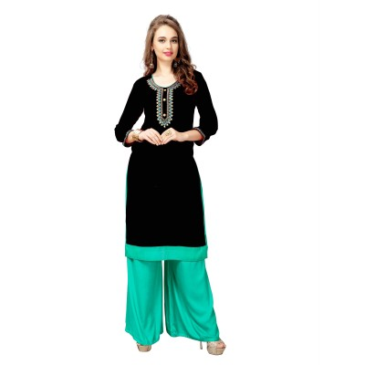 NTC Black Slub Cotton Embroidered Straight Kurta